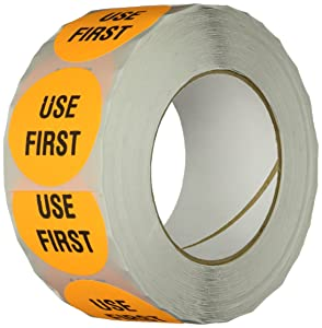 "TapeCase INVLBL-039 ""Use First"" Inventory Control Label in Orange [Pack of 1000] - 2 in. Circular Label for Marking, Color Coding, Notating Inventory Items"