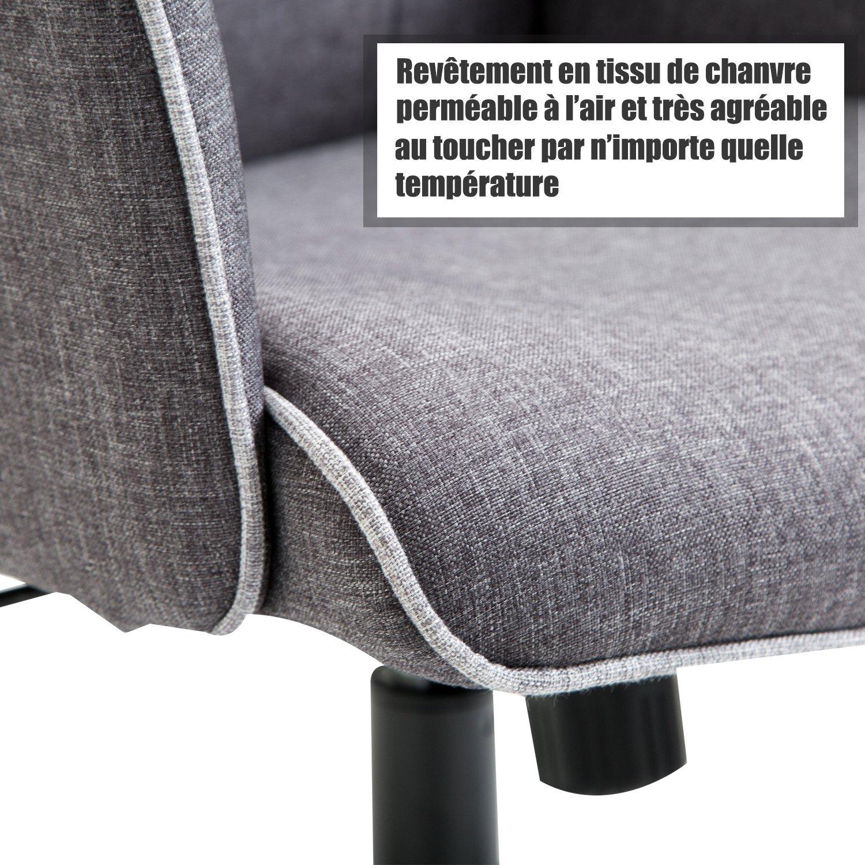 c8ef917e982ebf Homcom Fauteuil de Bureau capitonné Hauteur réglable pivotant 360   Tissu  Chanvre Gris chiné 03