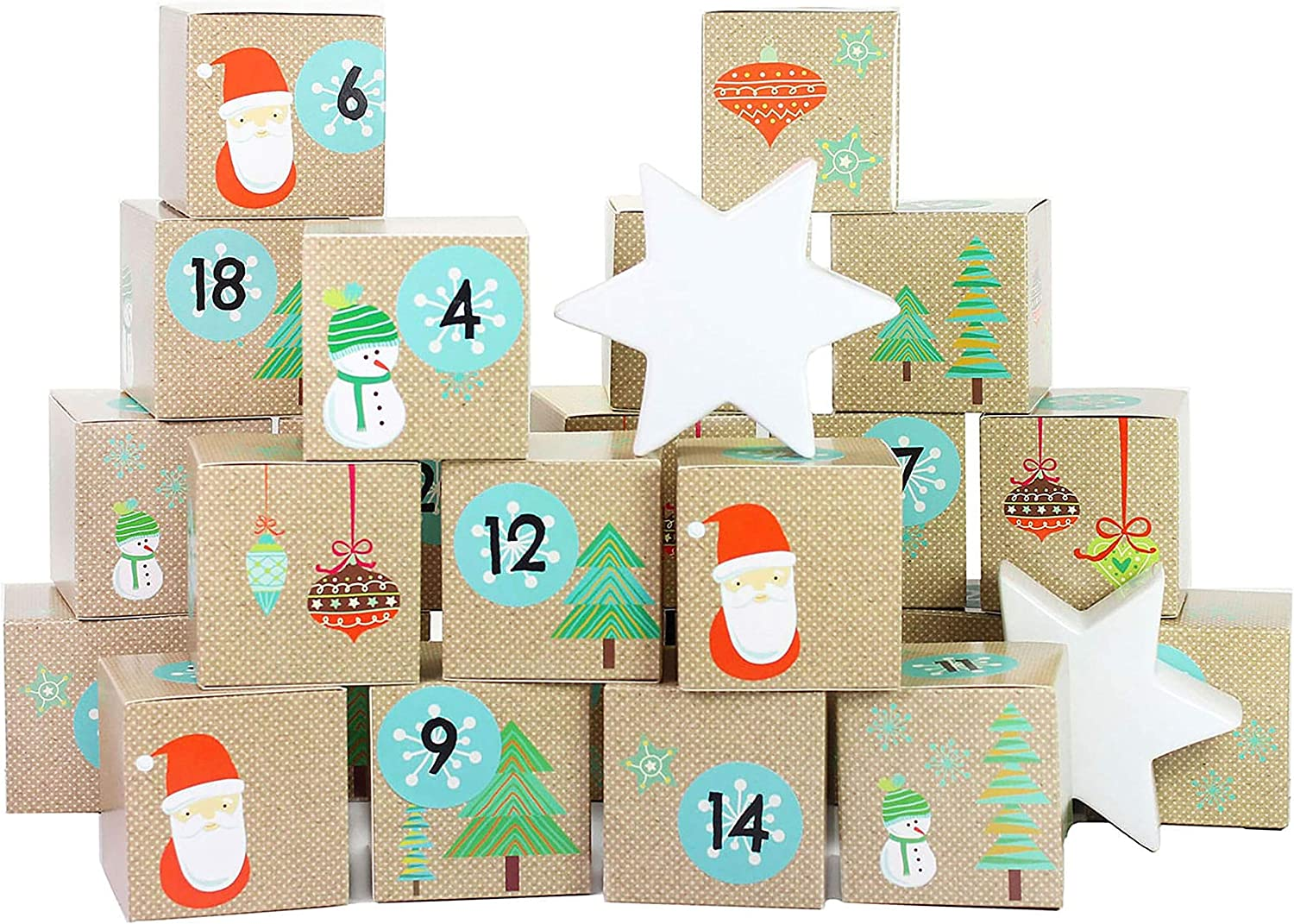 Papierdrachen DIY Advent Calendar Set - Santa Claus - 24 Printed Cardboard Boxes for Making and Filling