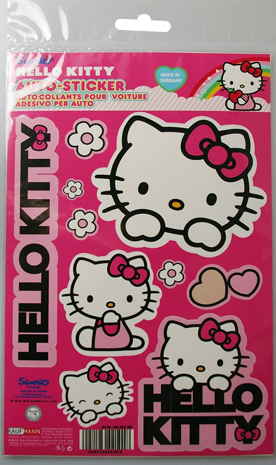 Brand New 5 Sheets Hello Kitty Reusable Stickers PLUS 4 x  Hello Kitty Badges
