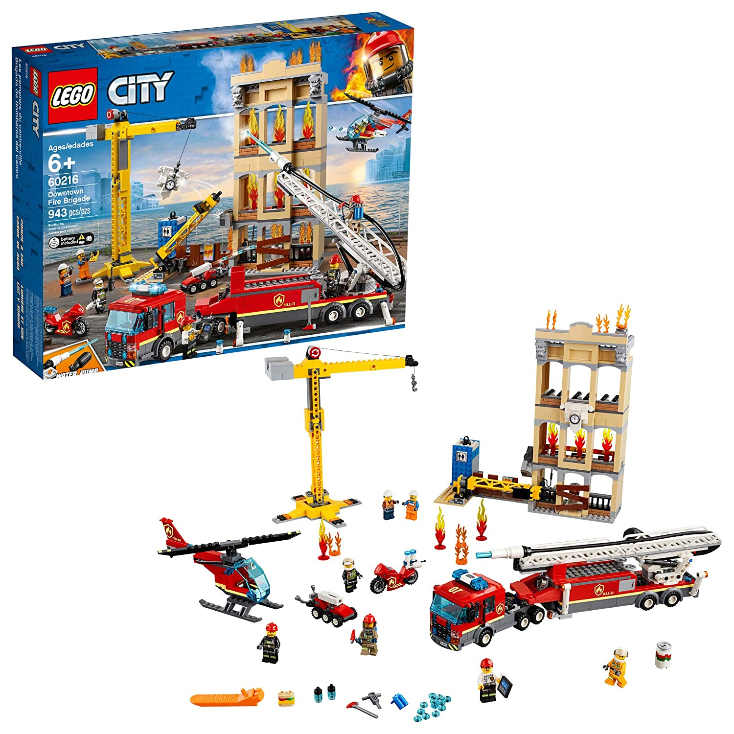 Amazon.com: LEGO City Downtown Fire Brigade 60216 Building Kit , New 2019 (943 Piece): Toys & Games