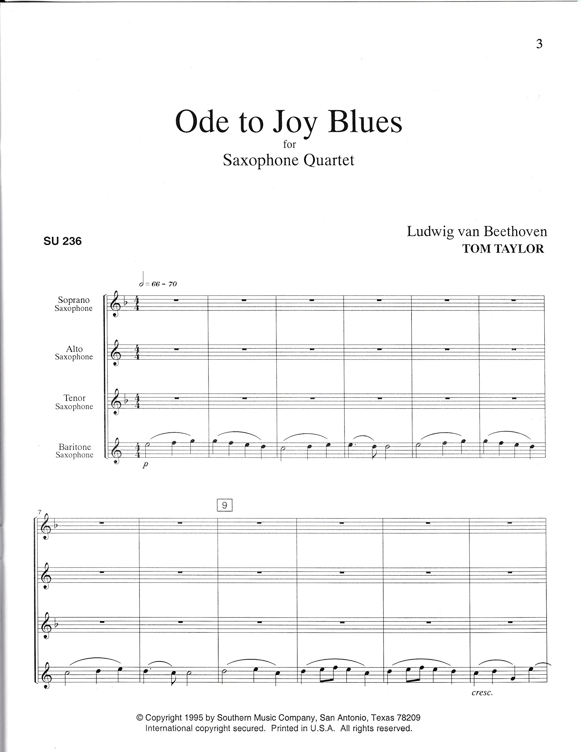 Amazon com: Ode to Joy Blues for Saxophone Quartet by Tom Taylor