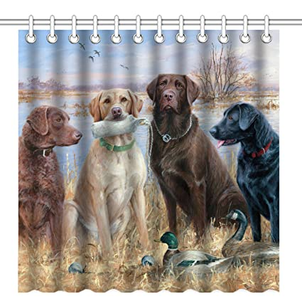 Bon Wknoon 72 X 72 Inch Shower Curtain With Hooks, Sweet Nature Animals Labrador  Retriever Dogs
