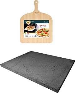 Eppicotispai Pizza Set with Cooking Stone and Pizza Peel, Silver
