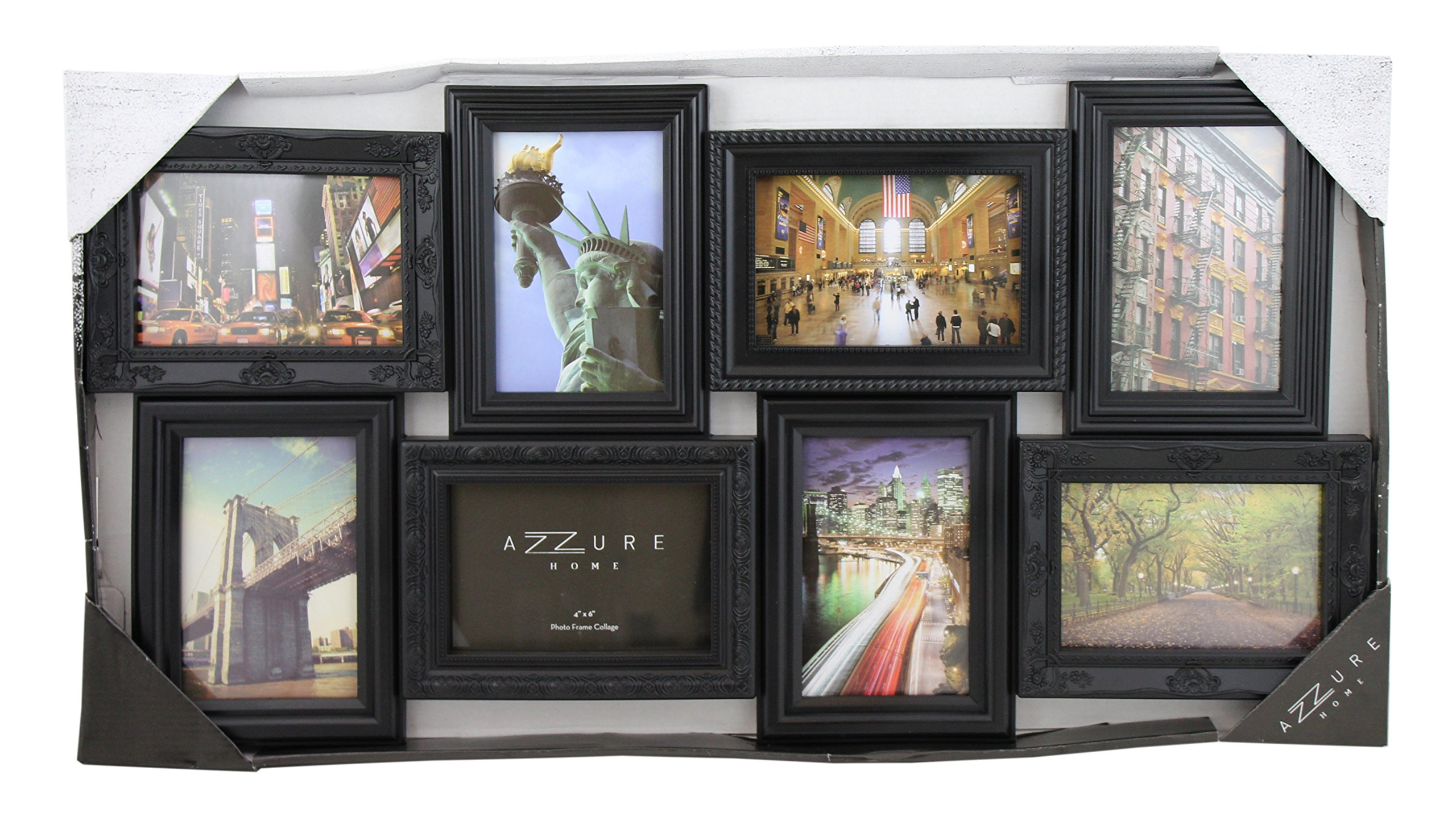 Azzure Home 8 Openings Decorative Wall Hanging Collage Picture Frame - Made to Display Four 5x7 and Four 4x6 Photos, Black