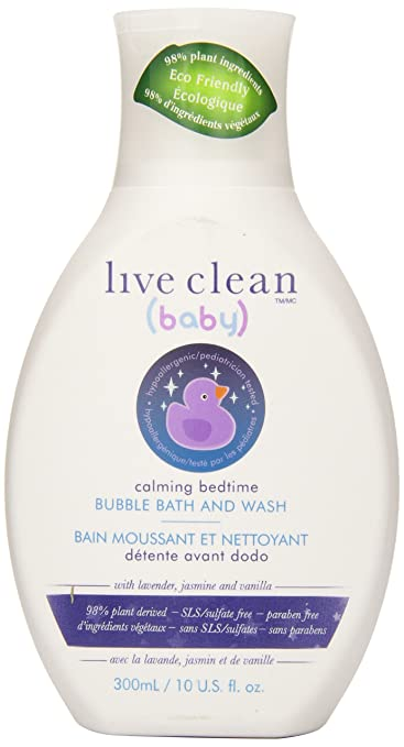 Live Clean Baby Calming Bedtime Bubble Bath & Wash, 10 Fluid Ounce