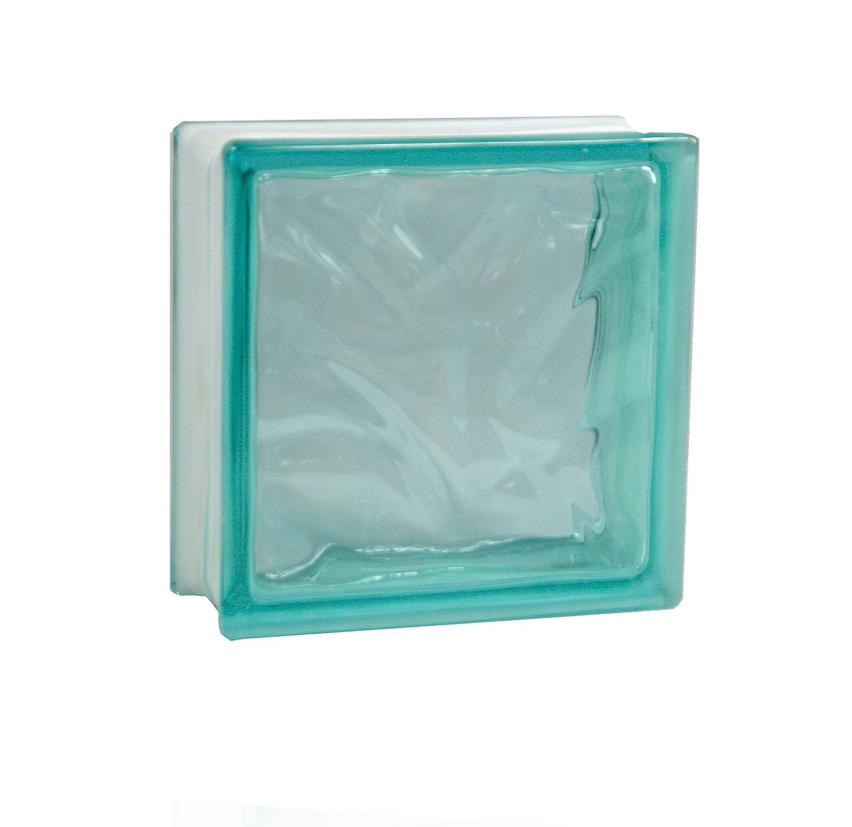 5 pi/èces FUCHS briques de verre nuage turquoise 19x19x8 cm