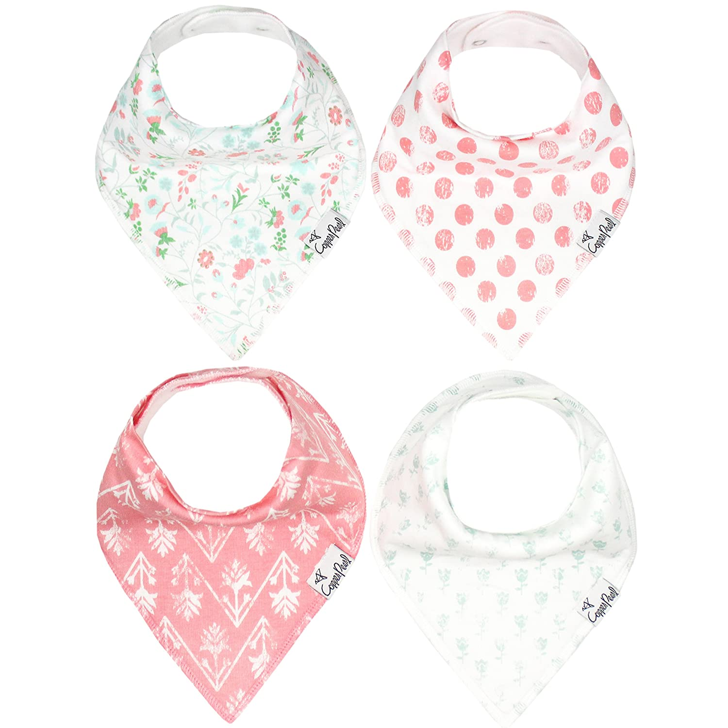"Baby Bandana Drool Bibs for Drooling and Teething 4 Pack Gift Set For Girls ""Claire Set"" by Copper Pearl X00163GGA9"