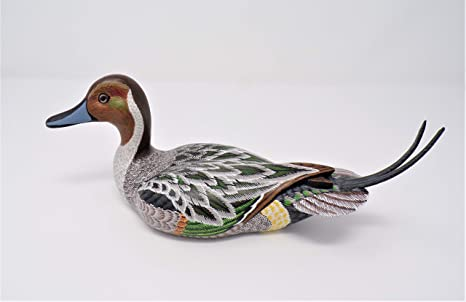 Usa Made Miniature 9 Inch Hand Carved Bird Collectible Wood Decoy Duck Green Winged Teal Duck 23cm Figurines Kolenik Home Kitchen
