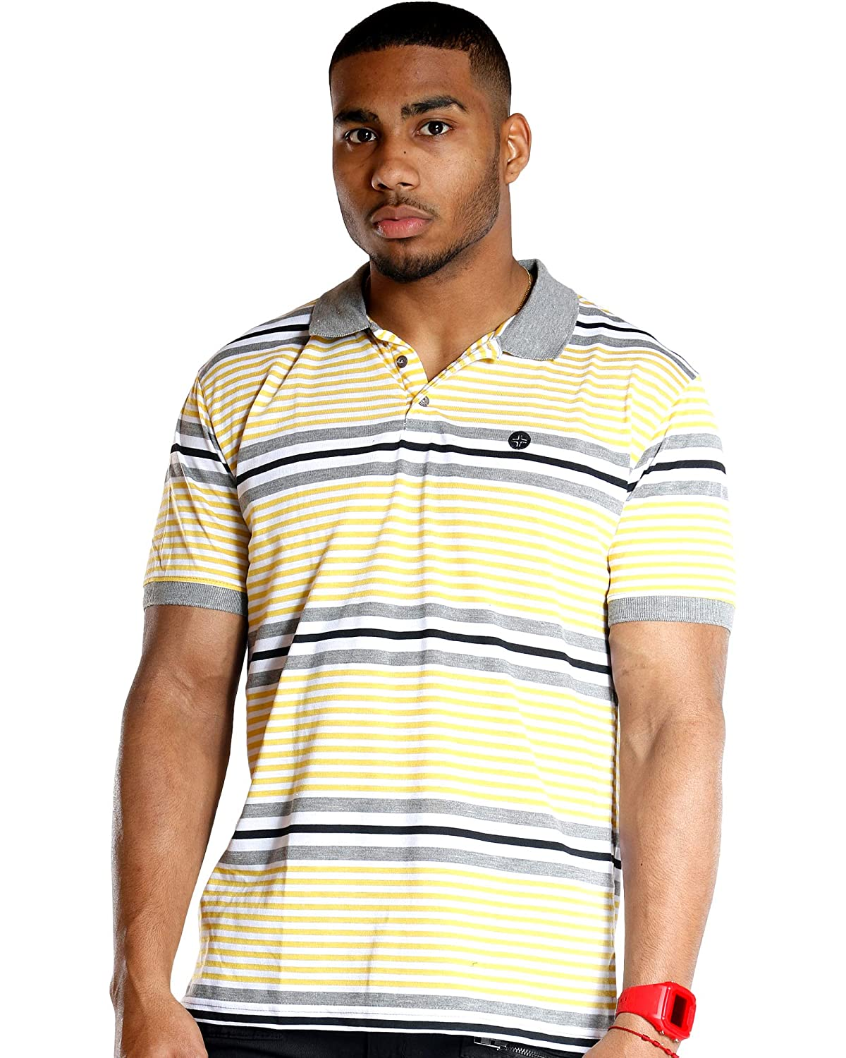 Ankor East Vim Mens Yellow Short Sleeve Striped Jersey Polo Shirt
