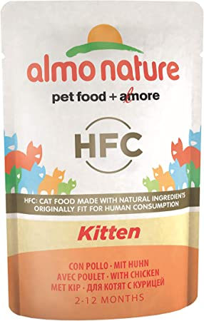 Almo Nature Hfc Cuisine Kitten Wet Food Pouch With Chicken Pack Of 24 X55g Amazon Co Uk Pet Supplies