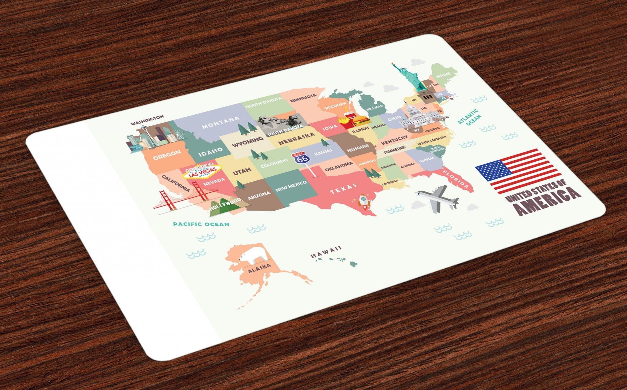 Lunarable Route 66 Place Mats Set of 4, Map of The United States of America with Famous Attractions of The Country Print, Washable Fabric Placemats for Dining Room Kitchen Table Decor, Multicolor