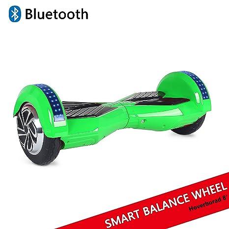 Cool&Fun Patinete Eléctrico Scooter Auto-Equilibrio 2 Ruedas 8 Pulgadas LED Bluetooth(Blanco Rojo)