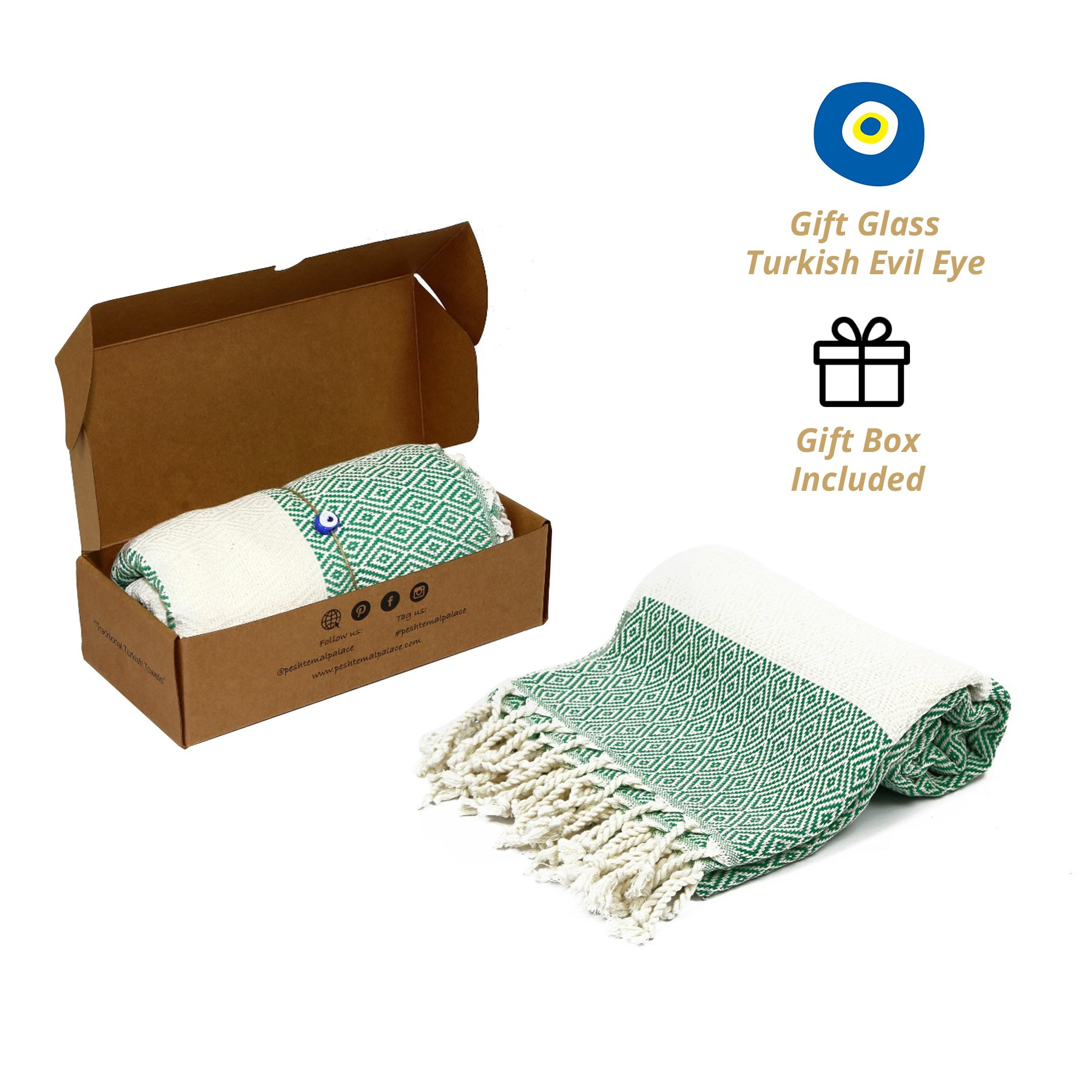Peshtemal Palace %100 Turkish Cotton Diamond Pestemal Towel Naturally-Dyed ; Beach Towel, Hammam, Gift, Bath, Home Decor, Pilates, Yoga, Baby Towel, Pareo can be used.(71 inches x 39 inches)(Green)