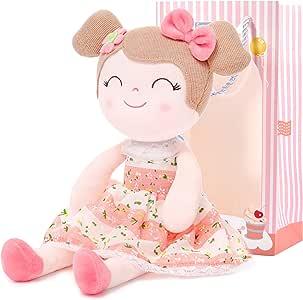 Gloveleya Spring Girl Wear Pink Dress Baby Stuffed Cloth Dolls Kids Plush Toys 16.5''