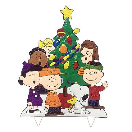 Charlie Brown Christmas Tree Silhouette.Peanuts Gang Around The Tree Christmas Decoration