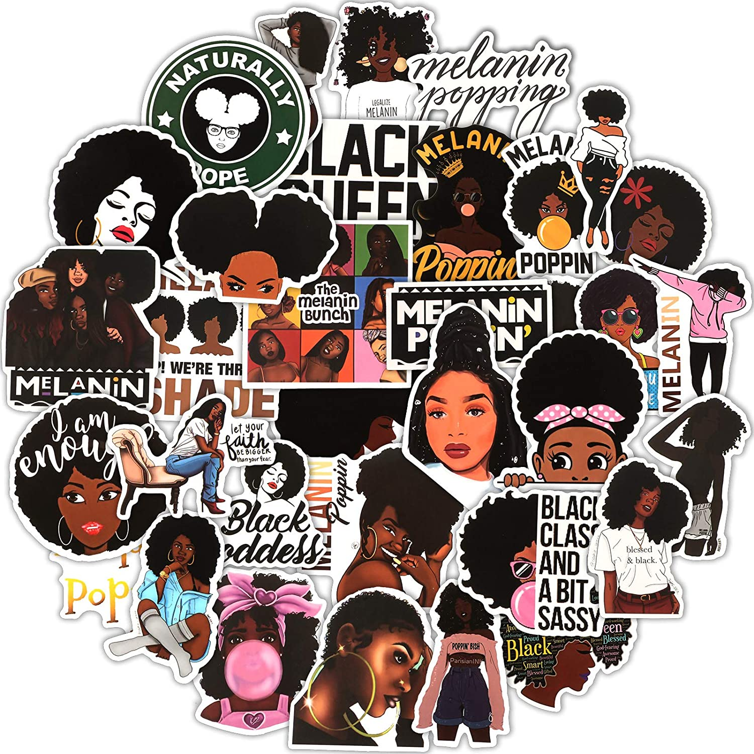 100 Pieces Melanin Poppin Stickers Black Girl Pop Singer Computer Decal for Laptop Water Bottles Skateboard Graffiti Patches, Durable Trendy Waterproof Vinyl Stickers for Teens