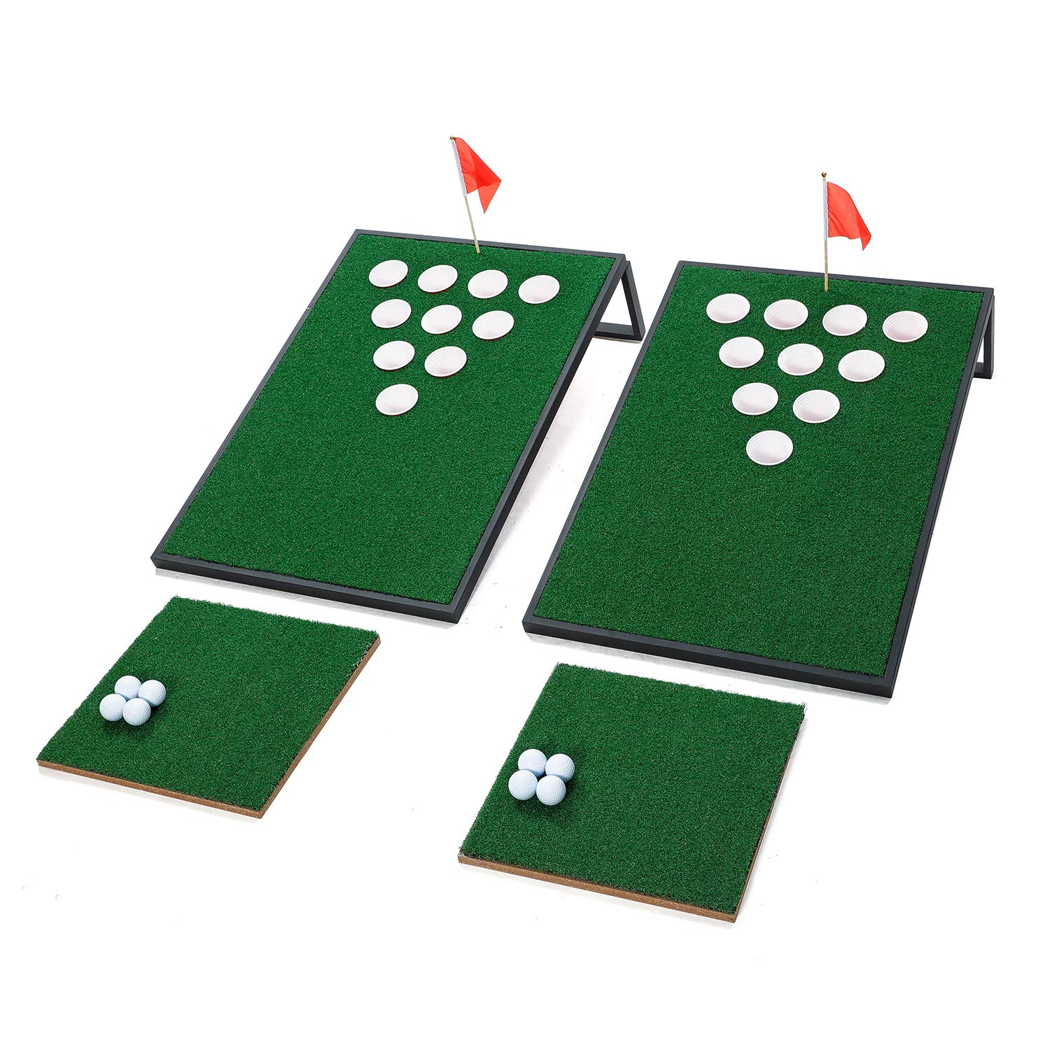 OOFIT Golf Pong Iron Frame Cornhole Set with Chipping Mats, Black