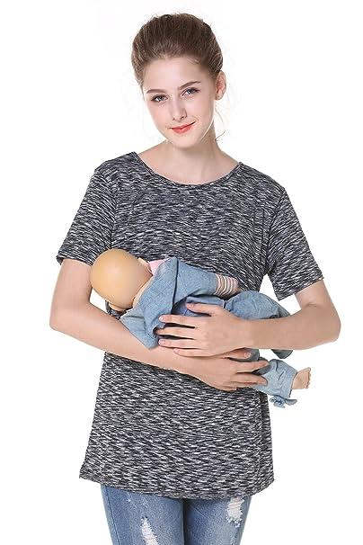 78d7864cdba Chulianyouhuo Breastfeeding Shirt Striped Patchwork Short Sleeve Maternity  Breastfeeding and Nursing Tops (S, Black
