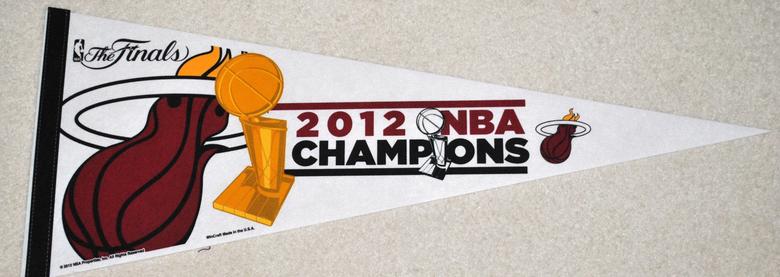 Miami Heat Official 2012 NBA Championship Commerative felt pennant full size Limited Edition