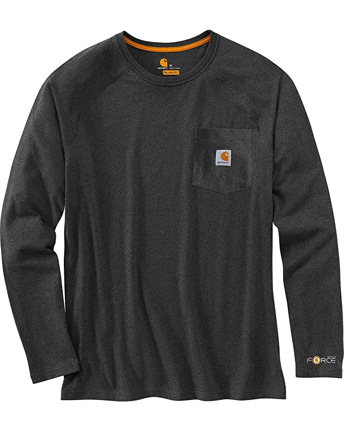 Carhartt Men's Force Cotton Delmont Long-Sleeve T-Shirt (Regular and Big & Tall Sizes), Carbon Heather, X-Large