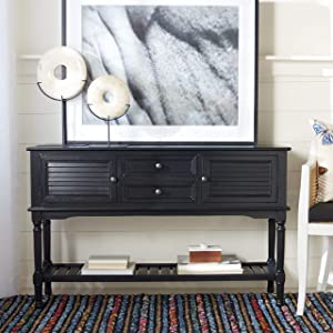 Safavieh Home Collection Tate Black 2-Drawer Bottom Shelf 2-Door Console Table