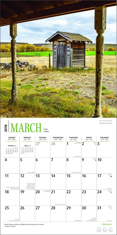 Amazon.com : Outhouses Calendar 2018 - Deluxe Outhouse Wall Calendar ...