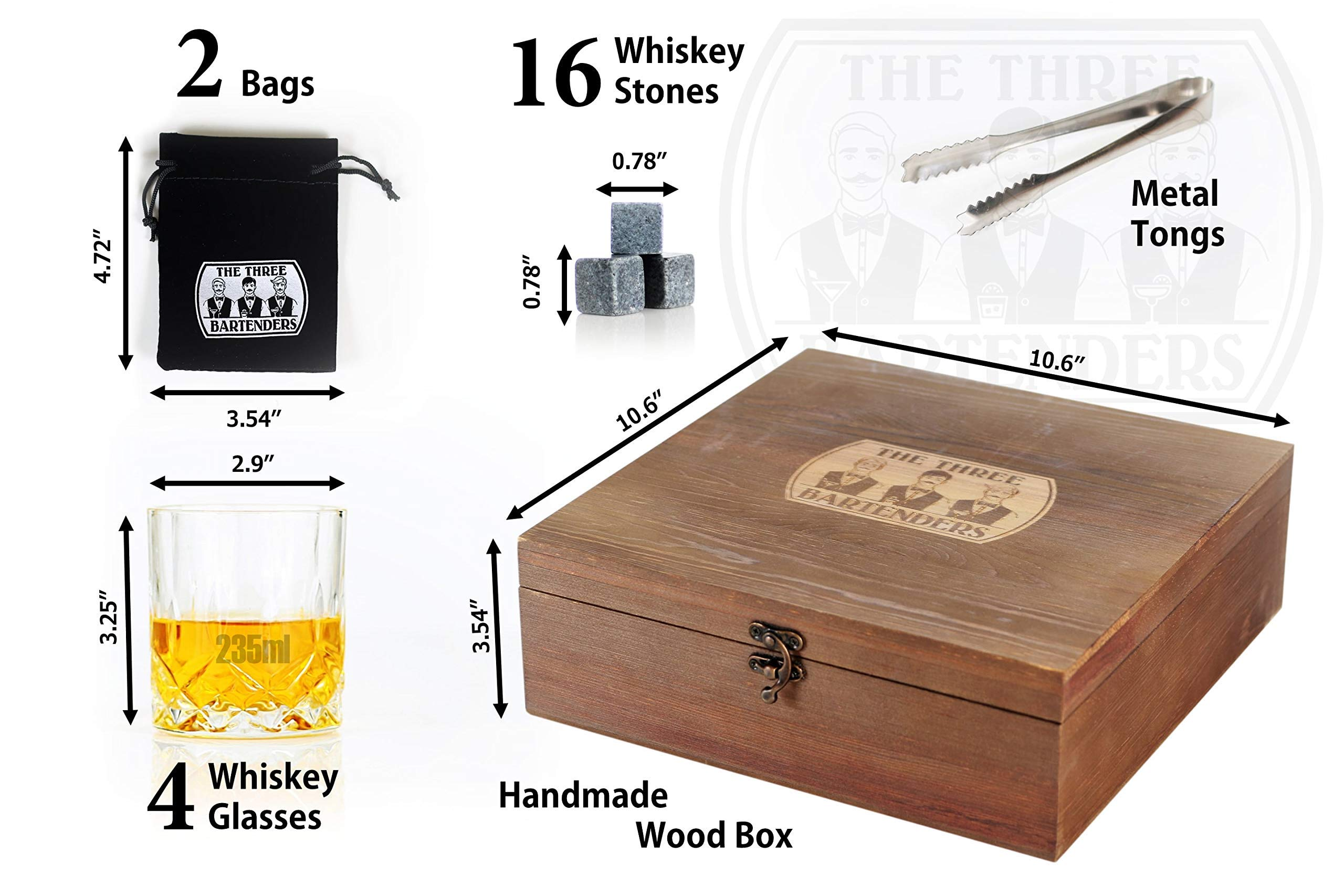 Whiskey Glasses and Stones Gift Set in Premium Wooden Presentation Box - 4 Extra Large Glasses, 16 Chilling Stones, Ideal Gift for Men, Fathers Day, Brother Gift (7.7) by The Three Bartenders (Image #5)