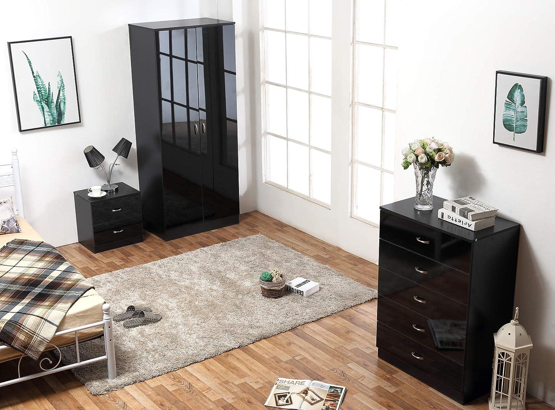 Harmin ltd high gloss 3 piece bedroom furniture set wardrobe 5 drawer chest bedside black on black amazon co uk kitchen home