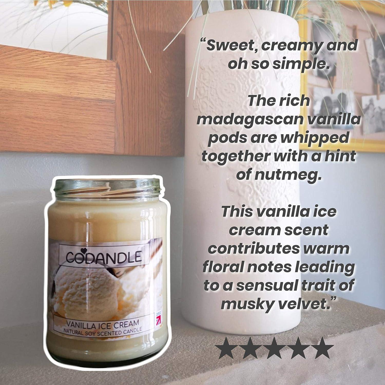 Vanilleeis nat/ürliche Sojaduft britischer Hersteller gro/ß vegane Codandle Kerze 80 Stunden Brenndauer