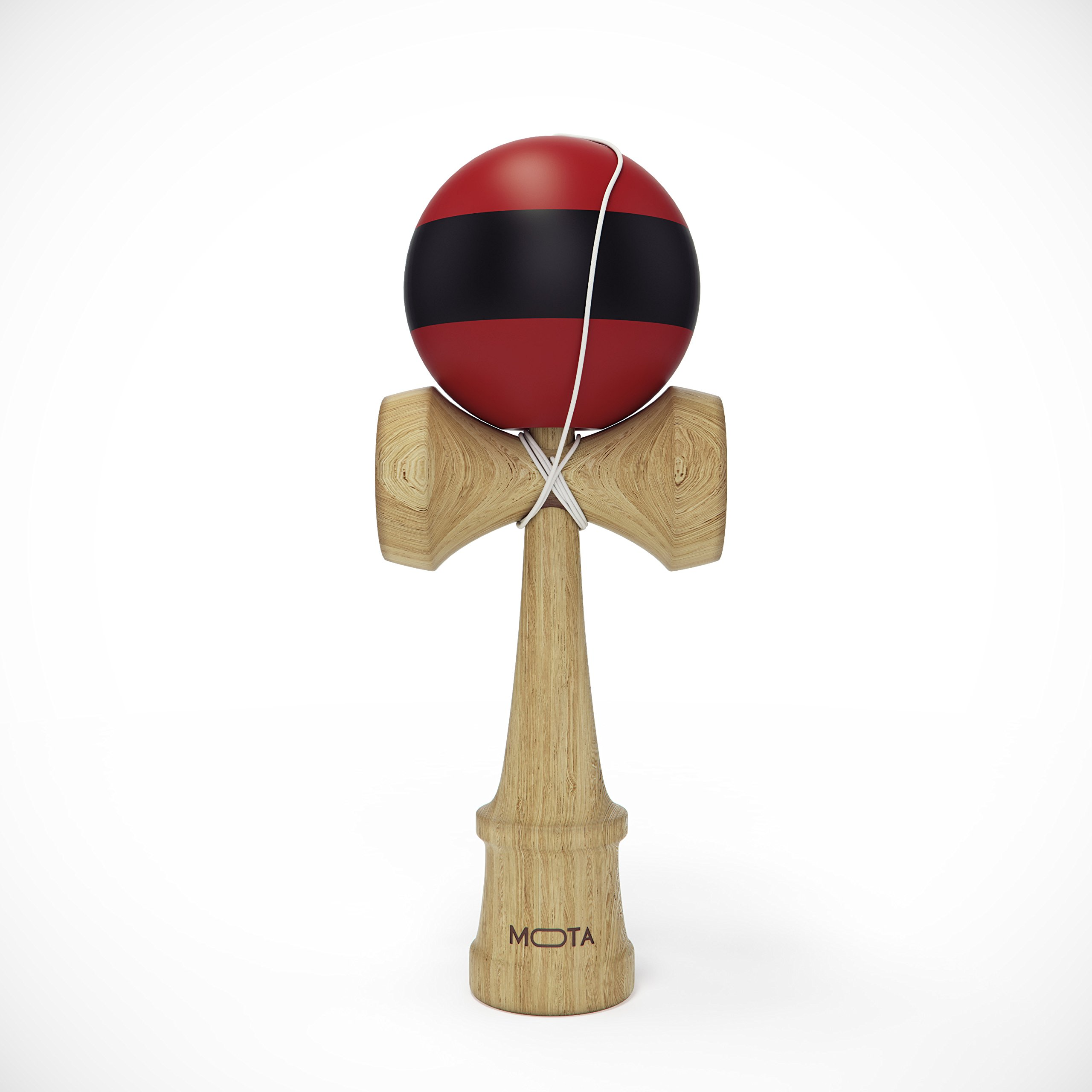 MOTA Kendama Bamboo Toy - Classic Japanese Wooden Ball and Cup Skill Game - Red