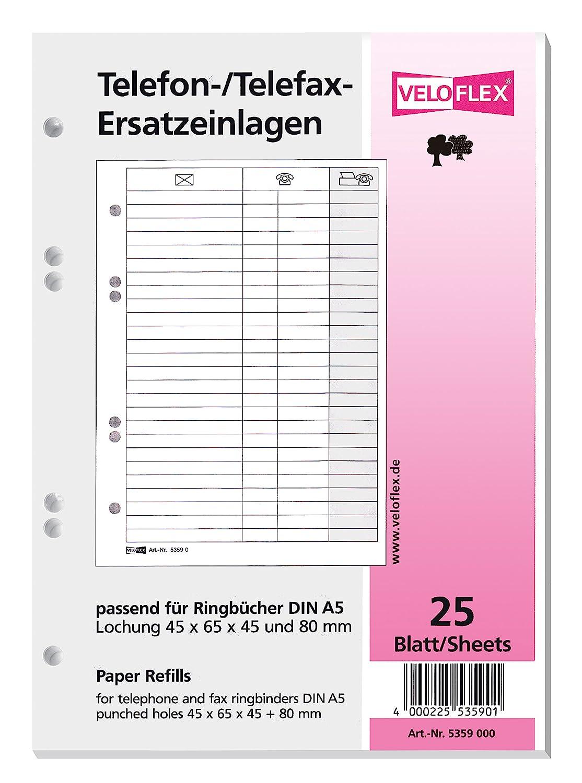 Veloflex 5359.000 Ersatzeinlage f.Tel.-Ringbuch 5158 25Bl 5359000