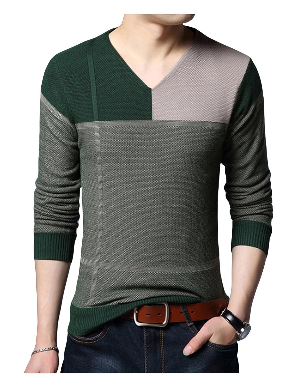 Legou Mens V-Neck Flexible Knitwear Pullover Sweater