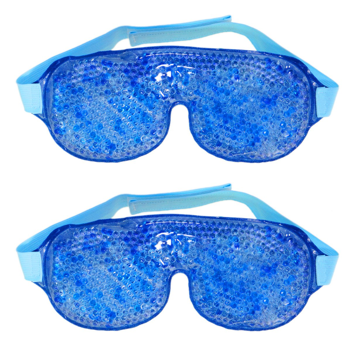 2 Packs Gel Bead Eye Mask Hot and Cold Two Side Reusable Therapy Eye Relieve 10x4 Inch By FORMAX CARE (2)