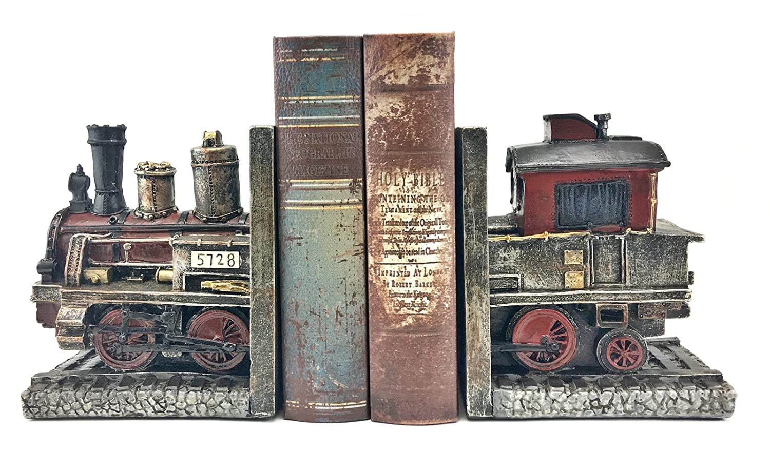 Bellaa 20928 Train Bookends Pair Handmade Vintage Style Book Holder