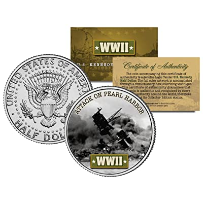 World War II ATTACK ON PEARL HARBOR JFK Kennedy Half Dollar US Coin: Toys & Games