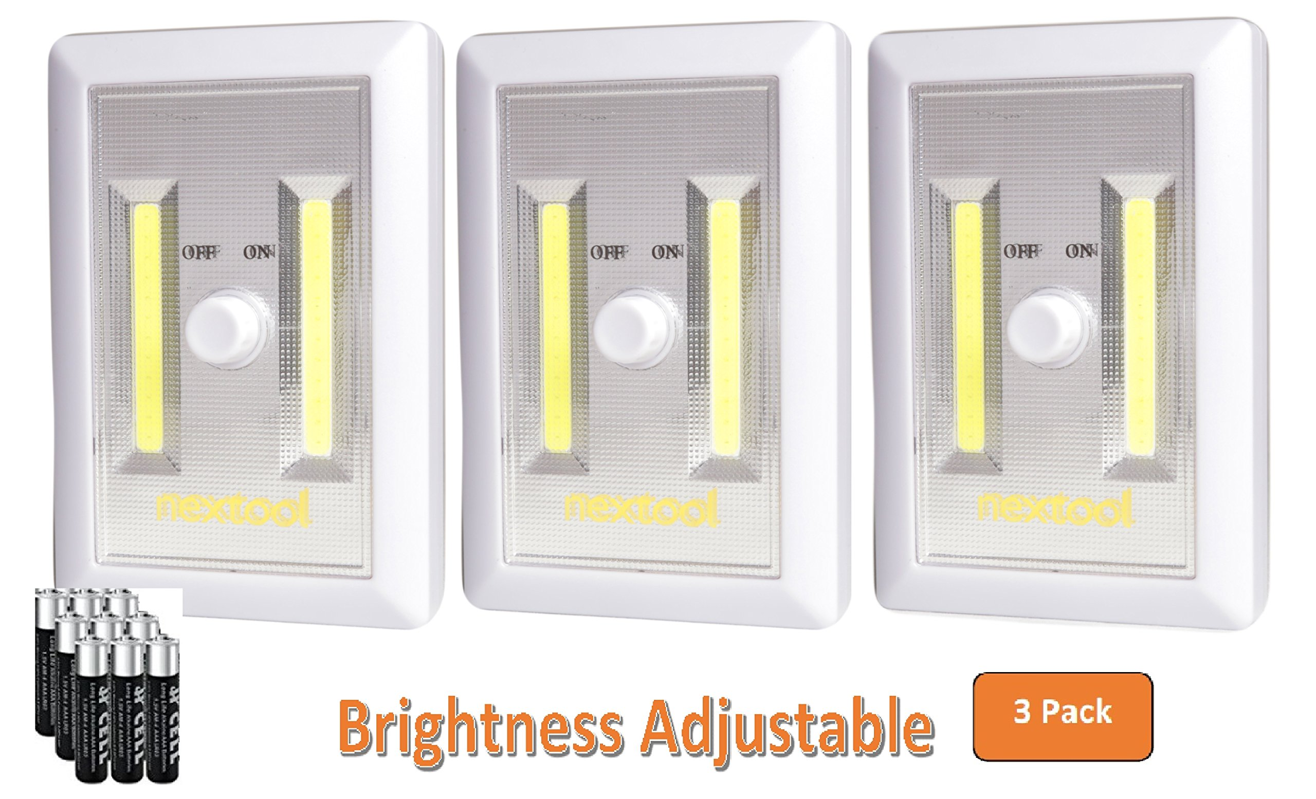 [New Arrival] 3-Pack Adjustable Brightness, Dimmable Battery Included COB LED Cordelss Switch Light, Tap Light, Battery Operated LED Night Lights, Batteries & Adhesive Strips (Included), White