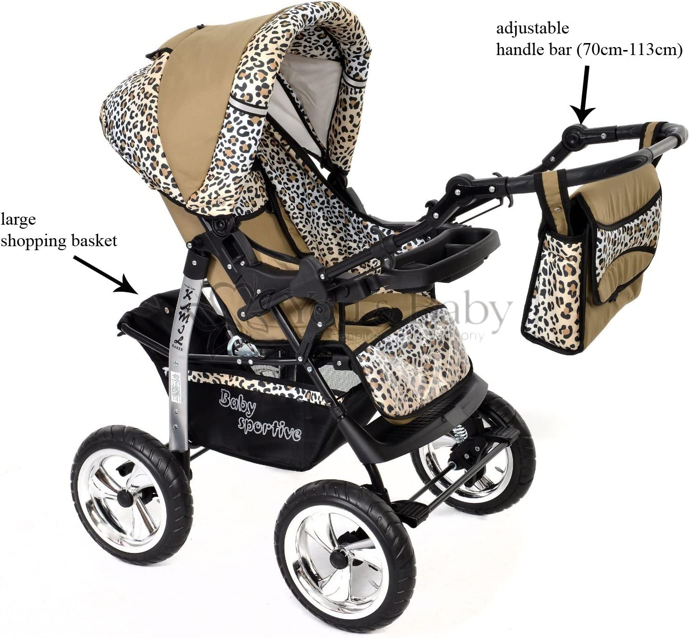 Pushchair /& Accessories Kamil Car Seat 3-in-1 Travel System, Beige /& Leopard FIXED Classic 3-in-1 Travel System with 4 STATIC WHEELS incl Baby Pram