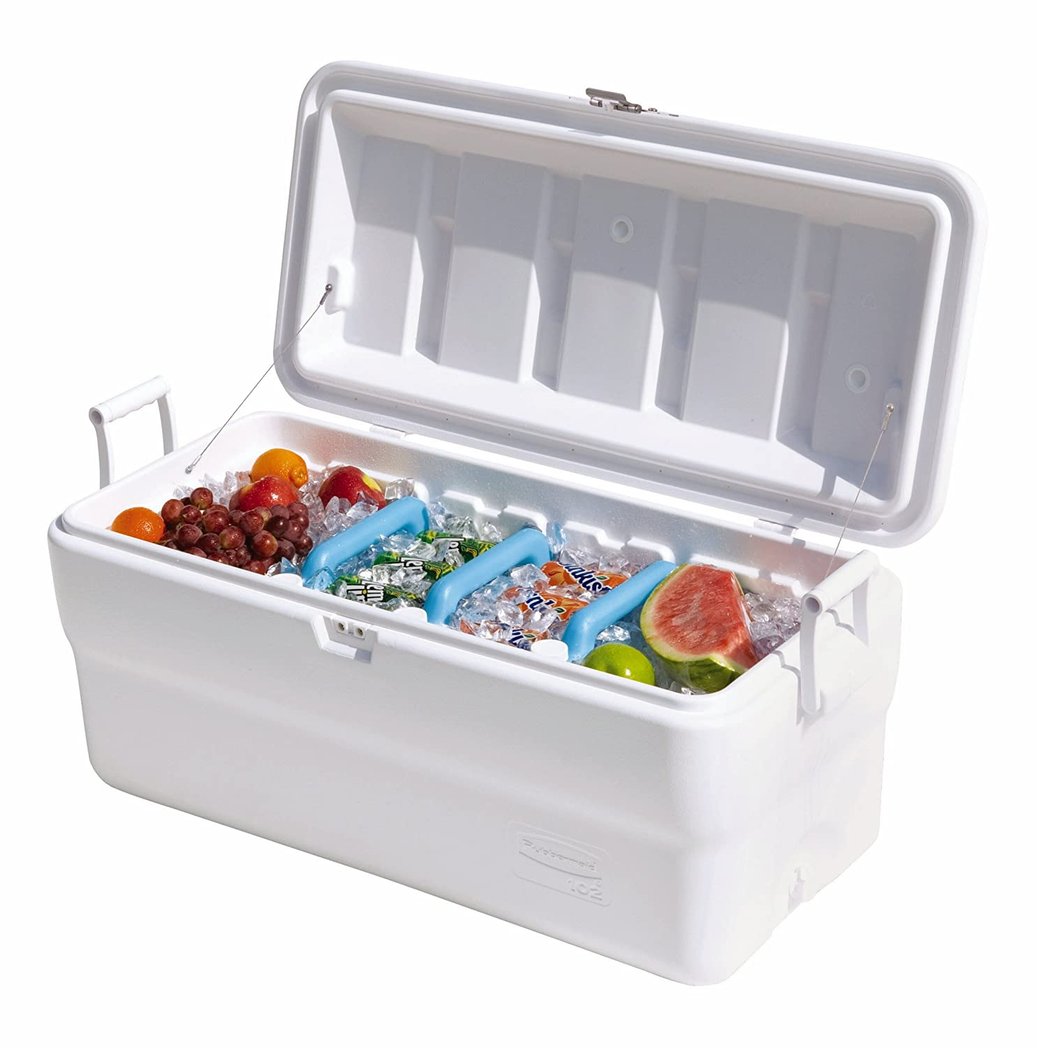 Amazon.com Rubbermaid Gott Marine Cooler / Ice Chest 102-quart White Kitchen Storage And Organization Product Accessories Kitchen u0026 Dining  sc 1 st  Amazon.com & Amazon.com: Rubbermaid Gott Marine Cooler / Ice Chest 102-quart ... Aboutintivar.Com
