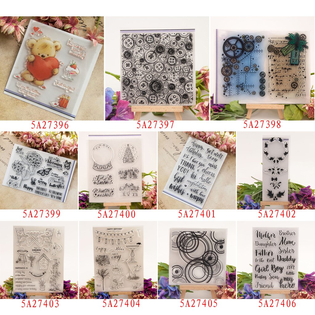 Seaskyer Clear Stamps for Cards Making Sheets Scrapbook Rubber Round DIY Silicone Clear Stamp Cling Seal Scrapbook Embossing Album Decor Craft