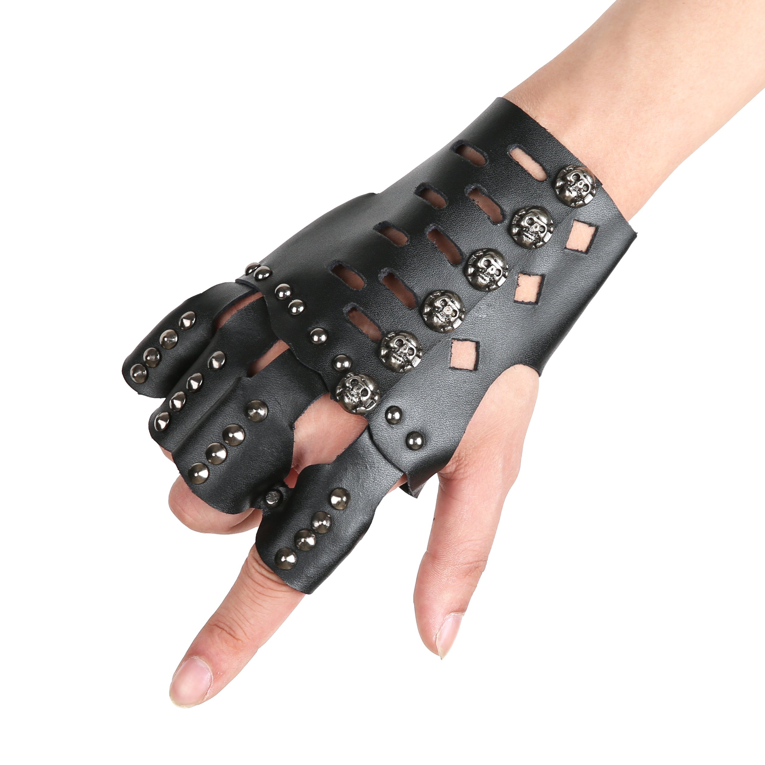 HZMAN Black Leather Fingerless Skull Metal Cycling Rock Gothic Punk Gloves Cuff Gauntlet Bracelet (B) by HZMAN