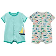 Carter's Baby Boy's 2 Pack Cotton Romper Creeper Set (9 Months, Green Stripe Sailboat and Grey with Fish)