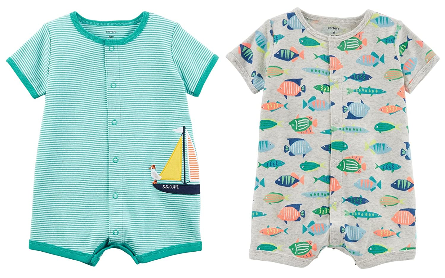 Carter's Baby Clothing SHIRT With ベビーボーイズ B07CRBRHRX Green SHIRT Stripe Sailboat Grey and Grey With Fish 3 Months 3 Months|Green Stripe Sailboat and Grey With Fish, KELLCH ケルヒジュエリーリペア:7b277a2f --- itxassou.fr