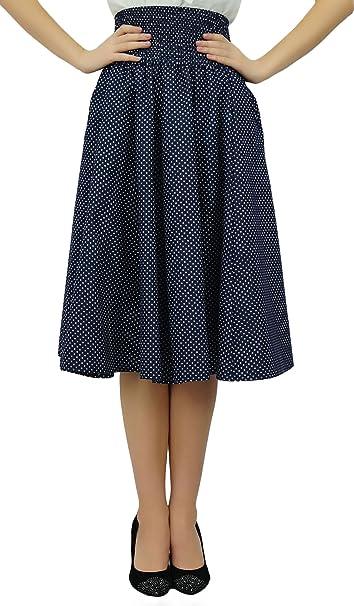 Bimba Smocked Elastic High Waist Cotton Skirt with Pockets a-line Skirts