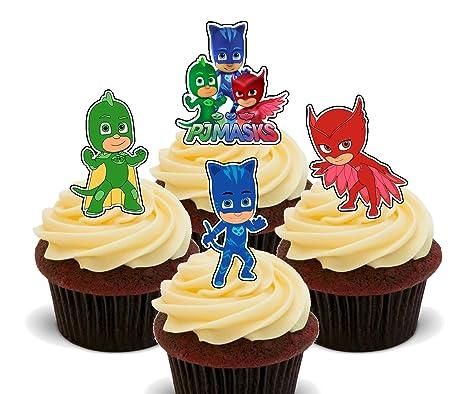 Cobertura de oblea comestible para cupcakes, con forma de personajes de PJ Masks, Pack