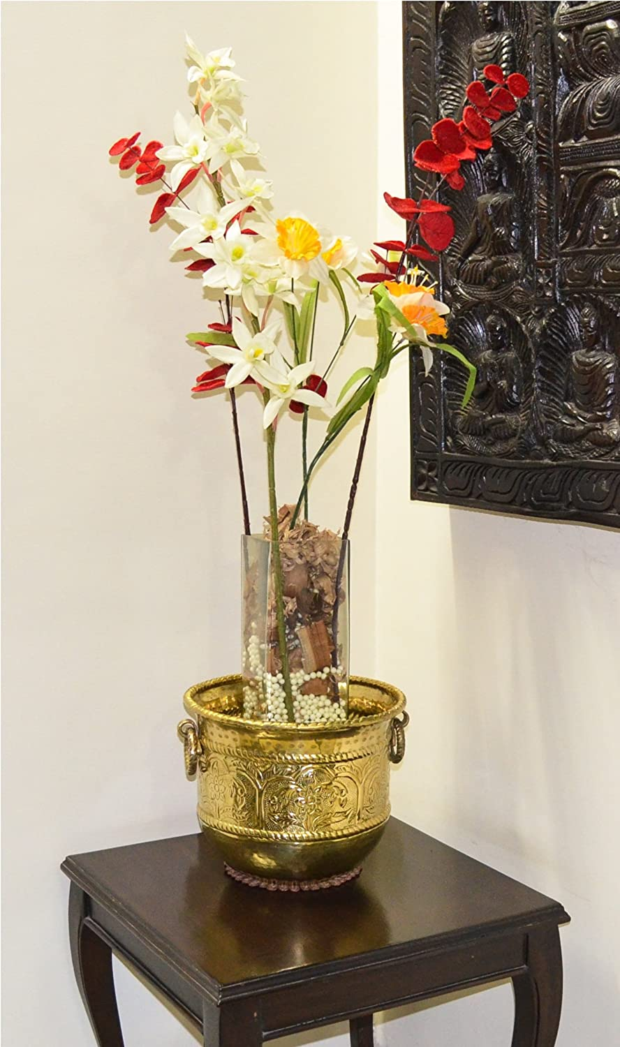 Size Dia-14 x Height-12 inch TANGERINE Handcrafted Decorative Brass Planter Pot with Lacquer Finish//Polish