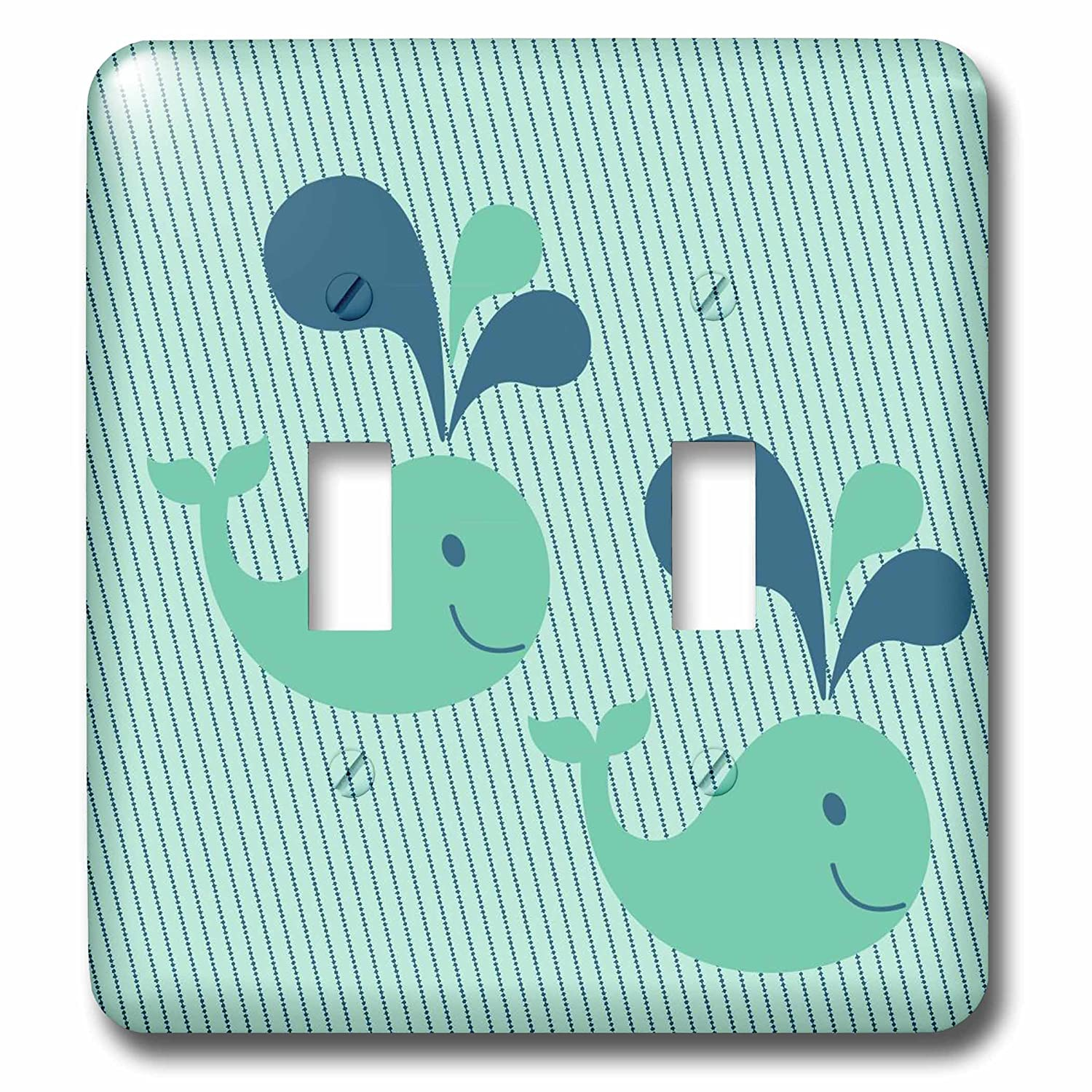 3dRose lsp/_124162/_2 Two Cute Whales Double Toggle Switch