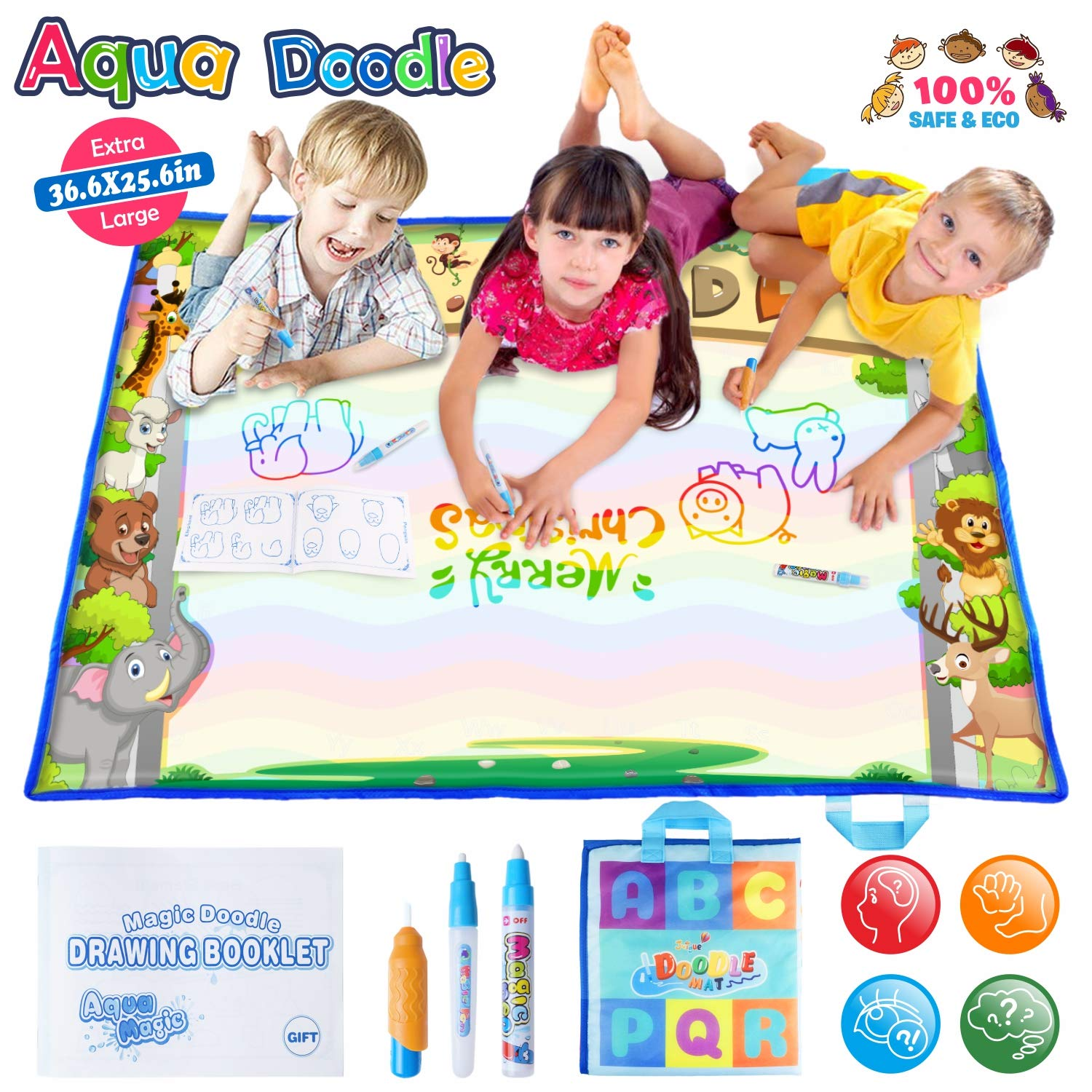 Large AquaDoodle Mat - Portable Magic Aqua Doodle Water Doodle Drawing Mat Pad with 3 Water Pens and Drawing Booklet, Kids Educational Travel Toys Gift for Boy Girl Toddlers Age 1- 6, 36.6 X 25.6 Inch