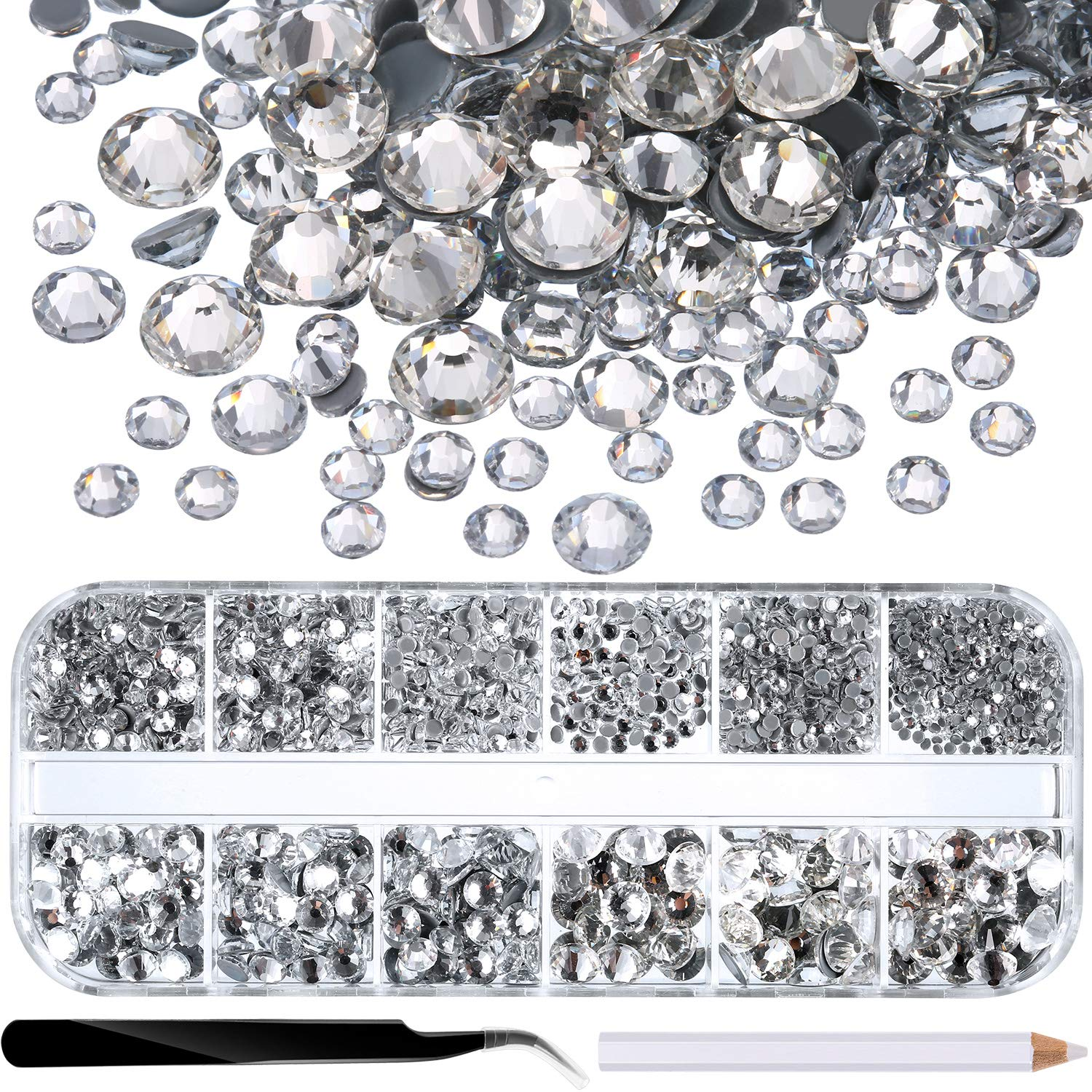 SS4-SS30 Paradise Shine 2000 Pieces Hot Fix Glass Flatback Rhinestones HotFix Round Crystal Gems 1.5-6 MM in Storage Box with Tweezers and Picking Rhinestones Pen