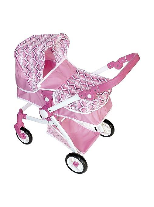 COLORBABY - Carrito de paseo convertible en sillita, color rosa con corazones (43104)